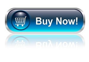Shopping cart, buy icon button, blue glossy with shadow, vector